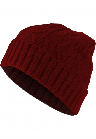 Beanie Cable Flap maroon | one size