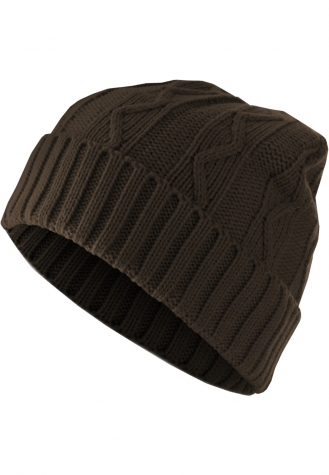 Beanie Cable Flap chocolate | one size