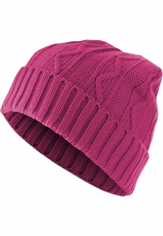 Beanie Cable Flap magenta | one size