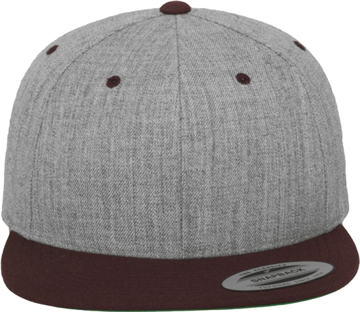 Unisex Classic Snapback 2-Tone Heather Grey / Maroon