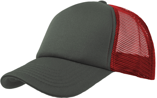 5 Panel Bull Trucker Cap Atlantis Grey Red Grey