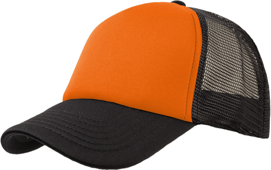 5 Panel Bull Trucker Cap Atlantis Orange Black
