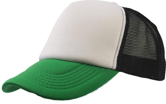 5 Panel Bull Trucker Cap Atlantis White Green Black