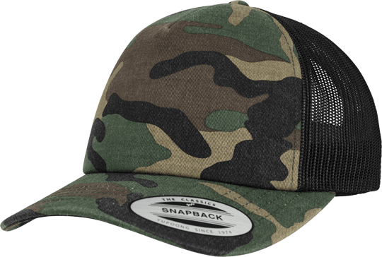 Camo Trucker Flexfit Cap Woodcamo / Black