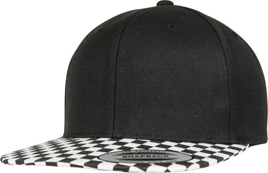 Checkerboard Snapback Black