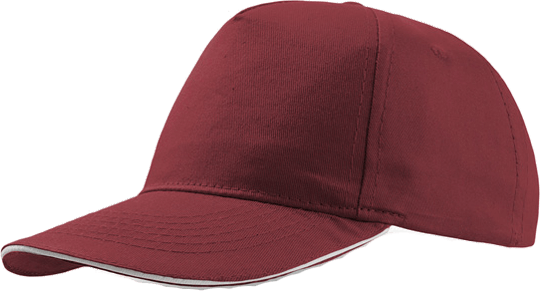 Sandwich Cap Star Five Unisex Burgundy/White