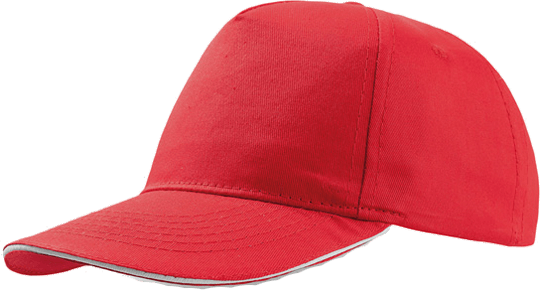 Sandwich Cap Star Five Unisex Red/White